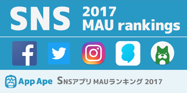 SNSアプリMAUランキング2017、利用率1位はあのアプリ